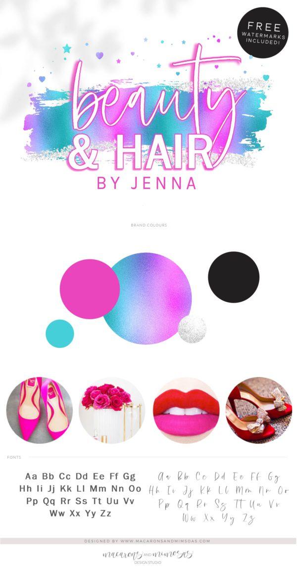 Holographic Logo Design, Unicorn Rainbow Neon Pink Beauty Logo and Watermark, Premade logo, Photography Branding Kit, Lash Salon Logo