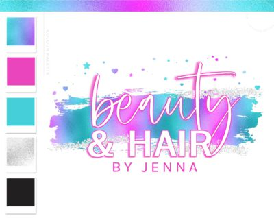 Holographic Logo Design, Unicorn Rainbow Neon Pink Beauty Logo and Watermark, Premade logo, Photography Branding Kit, Lash Salon Logo