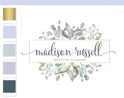 Floral Logo Design, Premade Florist Branding Kit, Wreath Wedding Planner Logo, Boutique Flower Logo, Elegant Floral Business Logo