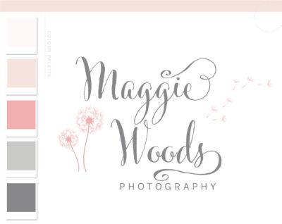 Dandelion logo design, Logos & Branding package, Photography Logo, Hand Drawn Watercolor Logo, Nature Organic Logo, Whimsical Logo