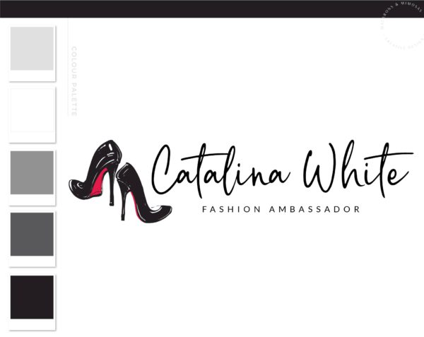 Red bottom Shoe Fashion Blogger, Influencer Logo Branding Design, Hand Drawn Louboutin Watermark, Feminine Girly Logo Brand Ambassador