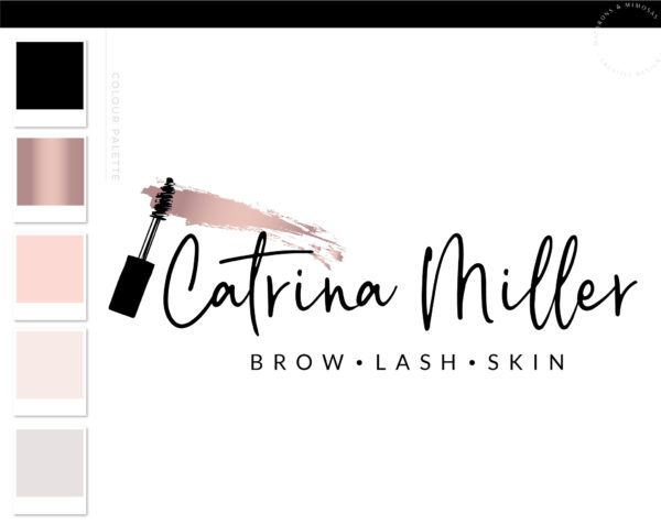 Mascara Logo, Eyelash Salon Logo Design, Lash Technician Branding Kit for Beauty Artists and Bloggers, Premade Mink Logo Template for Brows