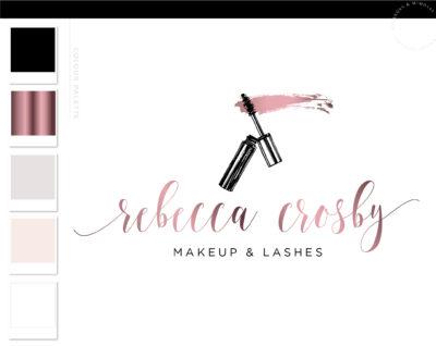 Eyelash Salon Logo Design, Mascara Logo Lash, Technician Branding Kit for Beauty Artists and Bloggers, Premade Mink Logo Template for Brows