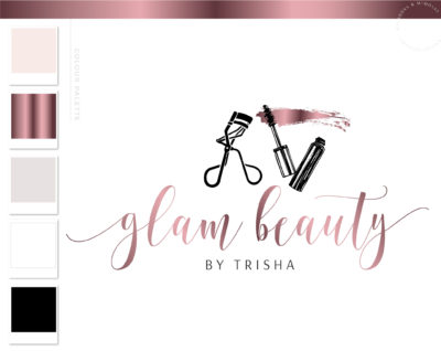 Mascara Logo, Eyelash Salon Logo Design, Lash Technician Branding Kit for Beauty Artists and Bloggers, Premade Mink Logo Template for Brows