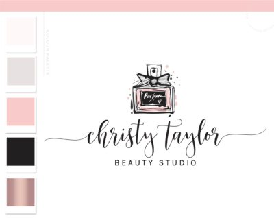 Perfume Logo, Beauty Blogger Fashion Influencer Logo Branding Design, Pink Bow Hand Drawn perfume Bottle Watermark, Feminine Girly Logo