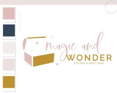 Treasure Chest Logo Design, Magic Treasure Box Logo and Branding Package, Sparkle Box Premade Logo, Vintage Finds Logo Design