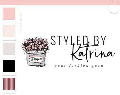 Fashion Blogger Influencer Logo Design, Flower Box Logo Design, Floral Boutique Website Branding Logo Watermark, Premade Flower Hat Box Logo