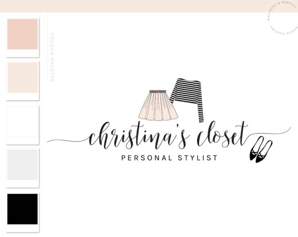Fashion Logo Design, Fashion Blogger Influencer Branding Kit, Boutique Website Branding Logo Watermark, Premade Girl Fashion Logo Package