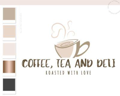 Heart Latte Logo Design, Cafe Coffee Cup Logo & Branding Kit, Tea Mug Logo Package, Premade Drink Logo Watermark for Social Media Blog