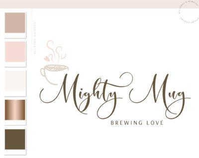 Heart Tea Logo Design, Cafe Coffee Cup Logo & Branding Kit, Coffee Mug Logo Package, Premade Drink Logo Watermark for Social Media Blog