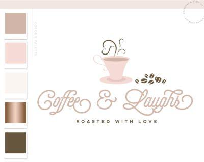 Coffee Bean Logo Design, Cafe Coffee Cup Logo & Branding Kit, Heart Mug Logo Package, Premade Drink Logo Watermark for Social Media Blog