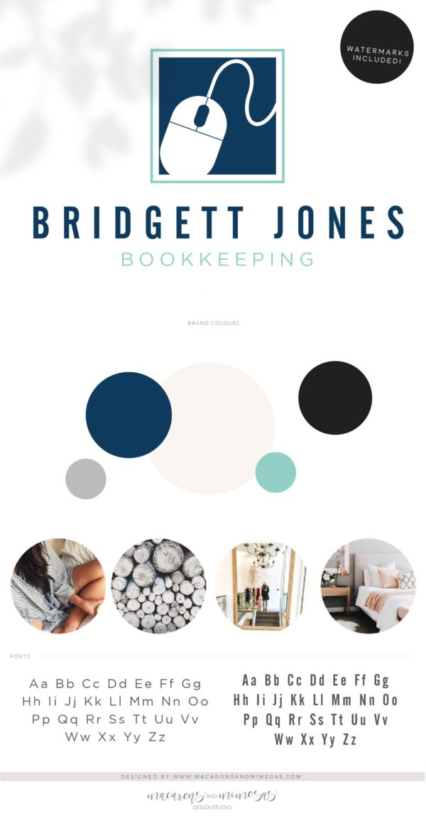 Accounting Logo Design, Bookkeeping Logo with Keyboard Mouse, Tax Prep & CPA Branding Kit, Copywriter Logo Feminine Business Logo Design
