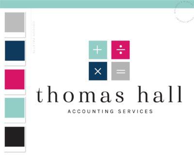 Calculator Logo, Math Bookkeeping Logo, Accounting Logo Design, Tax Prep & CPA Branding, Copywriter Feminine Business Logo Design