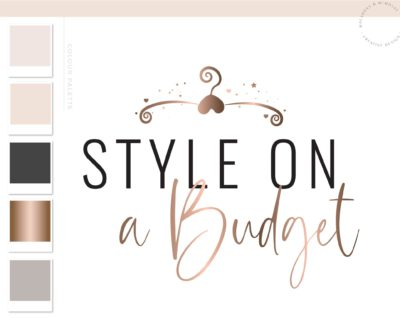Rose gold hanger logo, Chic Fashion branding kit, Sewing logo, Heart feminine logo hanger, Boutique Branding Watermark Fashion Blogger