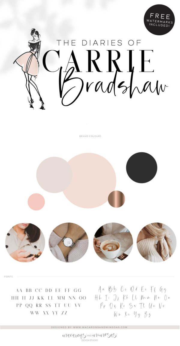 Fashion Logo Design, Personal Stylist Blogger Influencer Branding Kit, Boutique Website Branding Logo Watermark, Premade Girl Fashion Logo