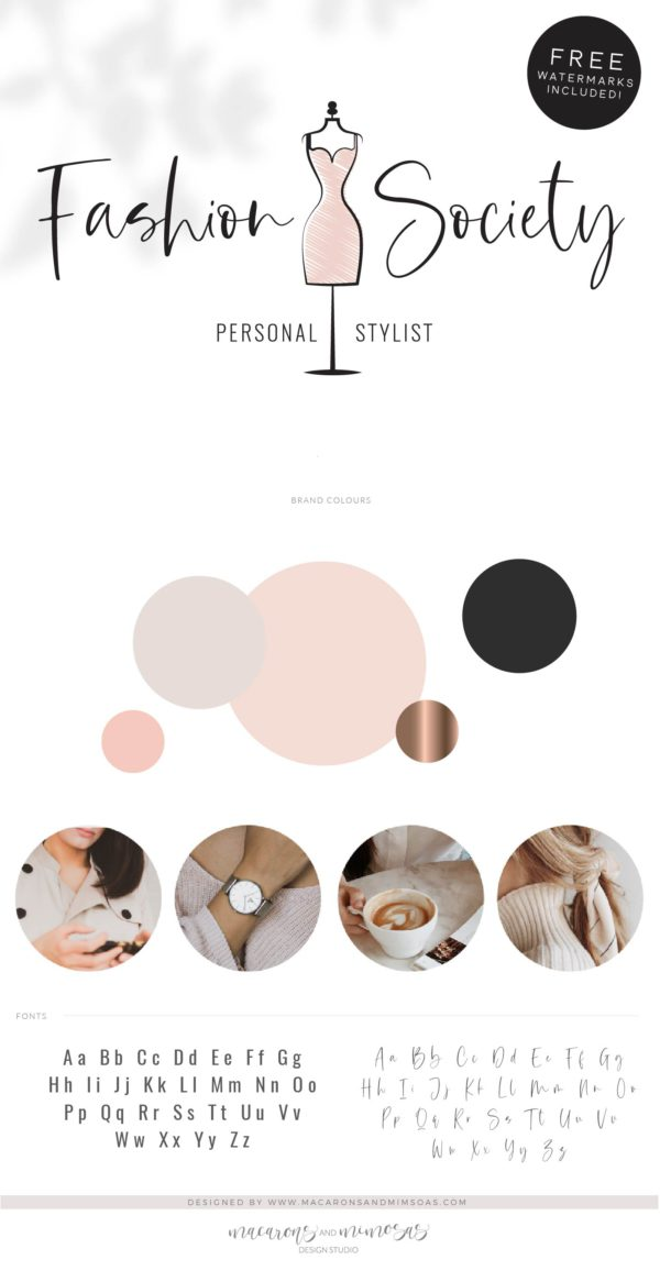 Personal Stylist Logo Design, Fashion Blogger Influencer Branding Kit, Boutique Website Branding Logo Watermark, Premade Girl Fashion Logo