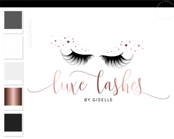 Lash Logo, Brow Logo, Lash Extension Logo, Premade, Eyelash Logo Design, Logo, Makeup Logo Design, Beauty Logo Design Heart Star Sparkle