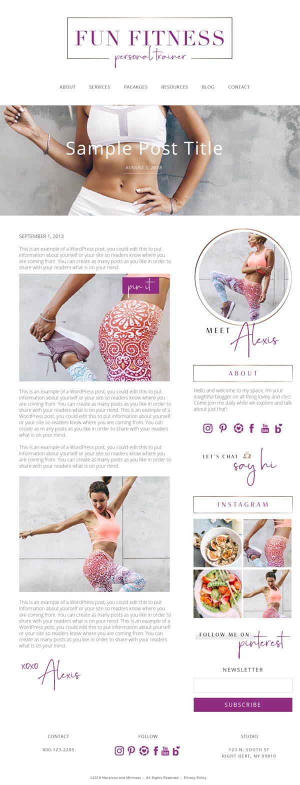 Fitness Wordpress Theme, Personal Trainer Logo Website Theme, Studio Press Theme