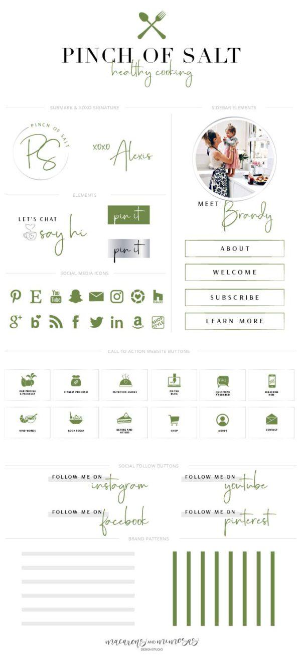 Food Blog Logo Makeover, Cooking Branding Blog Kit, Website Design Kit, Yummy Recipe Business, Web Buttons for Bloggers