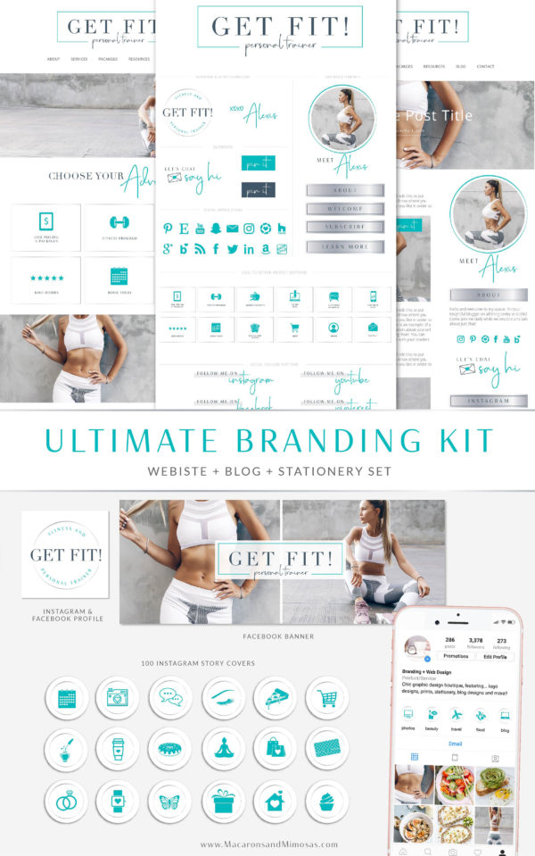 Fitness Wordpress Theme, Personal Trainer Logo Website Theme, Studio Press Theme