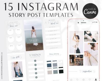Instagram Story Templates Canva, Editable Engagement IG Story Posts, 15 Social Media Bundle Templates, Instagram Story Facebook Feed Bundle