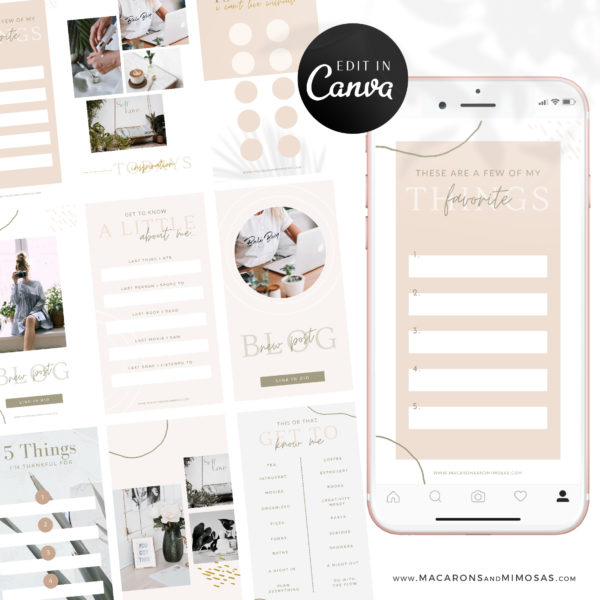 Instagram Story Templates Canva, Editable Engagement IG Story Posts, 15 Social Media Bundle Templates, Instagram Story Facebook Feed Bundle