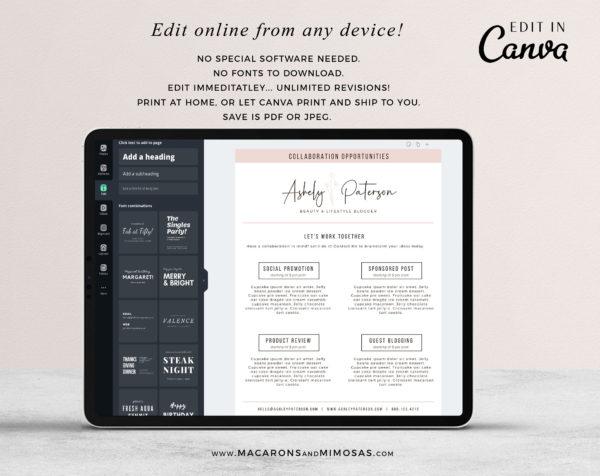 Media Kit Template for Canva, Instagram Brand Ambassador Media Kit Template, Press Kit, Pitch Kit, Blogger Template, Influencer Media Kit