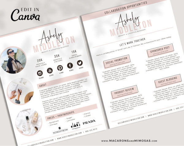 Media Kit Template for Canva, Instagram Brand Ambassador Media Kit Template, Press Kit, Pitch Kit, Blogger Template, Influencer Media Kit
