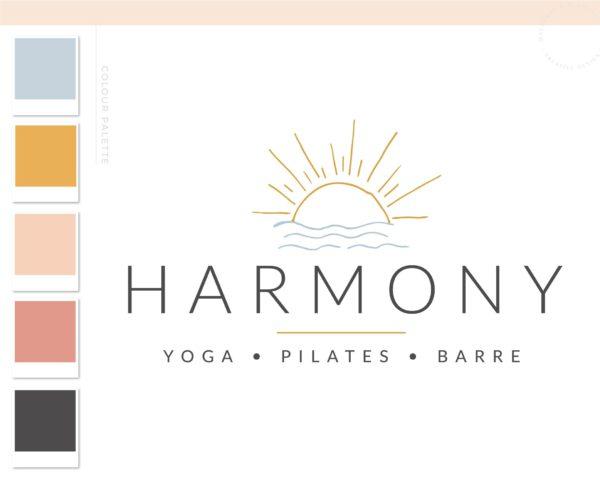 Yoga Logo, Health Wellness Pilates Studio Branding Logo Design, Barre Logo Package, Sun Water Logos Watermark, Fitness Training Brand Design