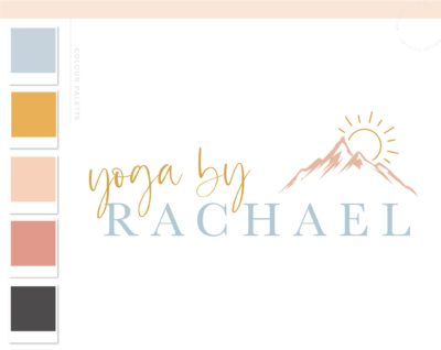 Pilates Logo, Health Wellness Yoga Studio Branding Logo Design, Barre Logo Package, Sun Mountain Logos Watermark, Fitness Training Brand