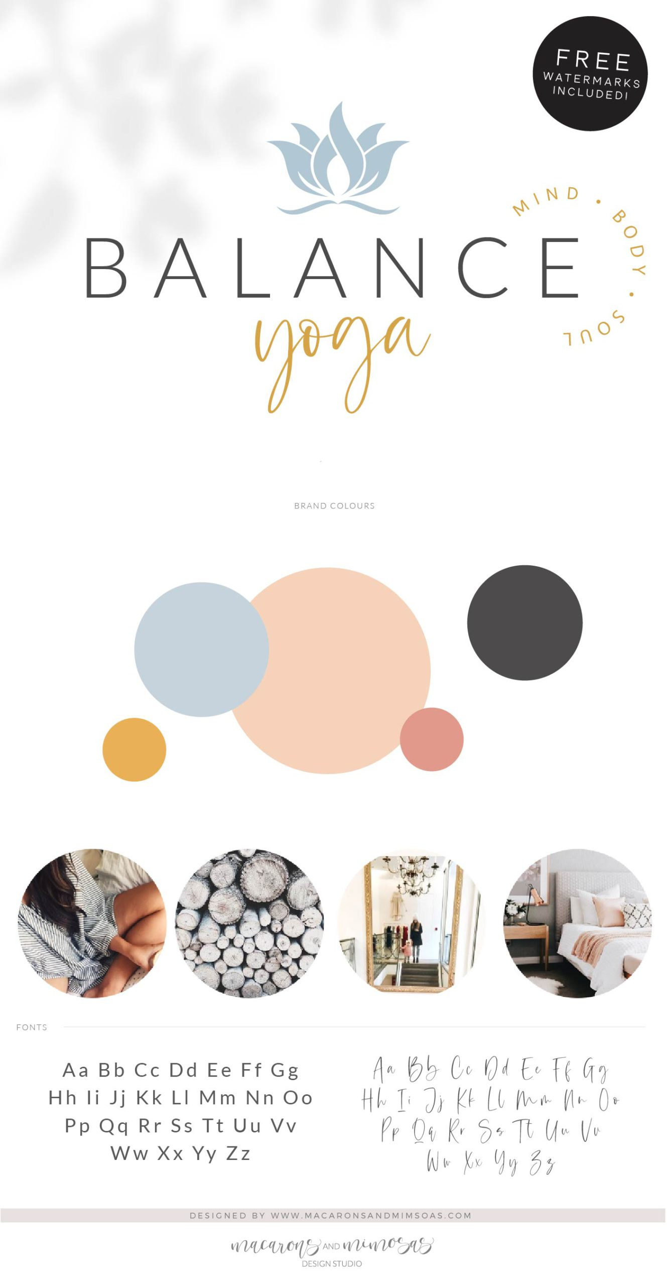 Balance Yoga Logo Design Macarons And Mimosas