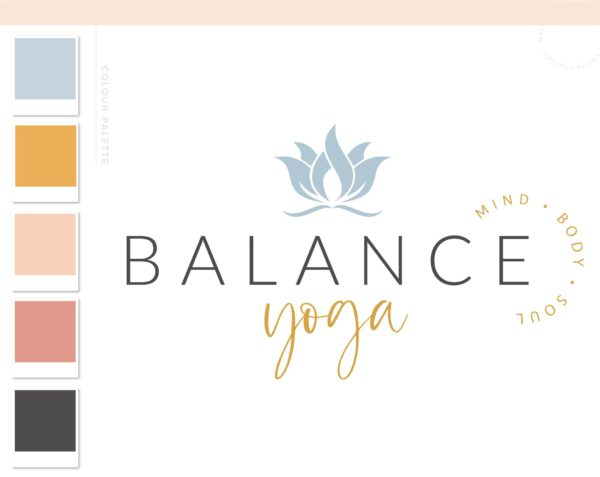 Lotus Flower Logo, Health Wellness Pilates Studio Branding Logo Design, Barre Logo Package, Yoga Logos Watermark, Fitness Training Design