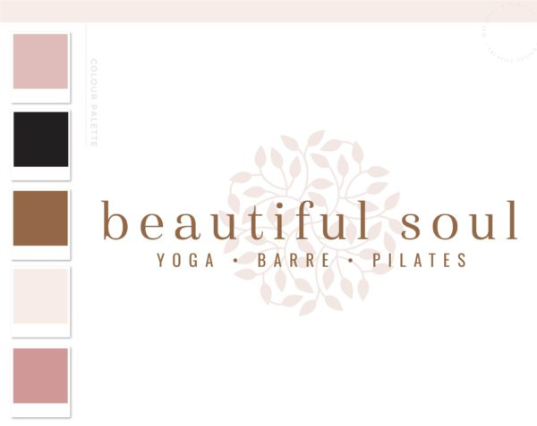 Yoga Wellness Logo, Health Boho Pilates Studio Branding Logo Design, Barre Logo Package, Star Logos Watermark, Fitness Training Brand