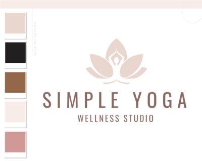 Lotus Flower Girl Logo, Yoga Logos Watermark, Fitness Training, Health Wellness Pilates Studio Branding Logo Design, Barre Logo Package