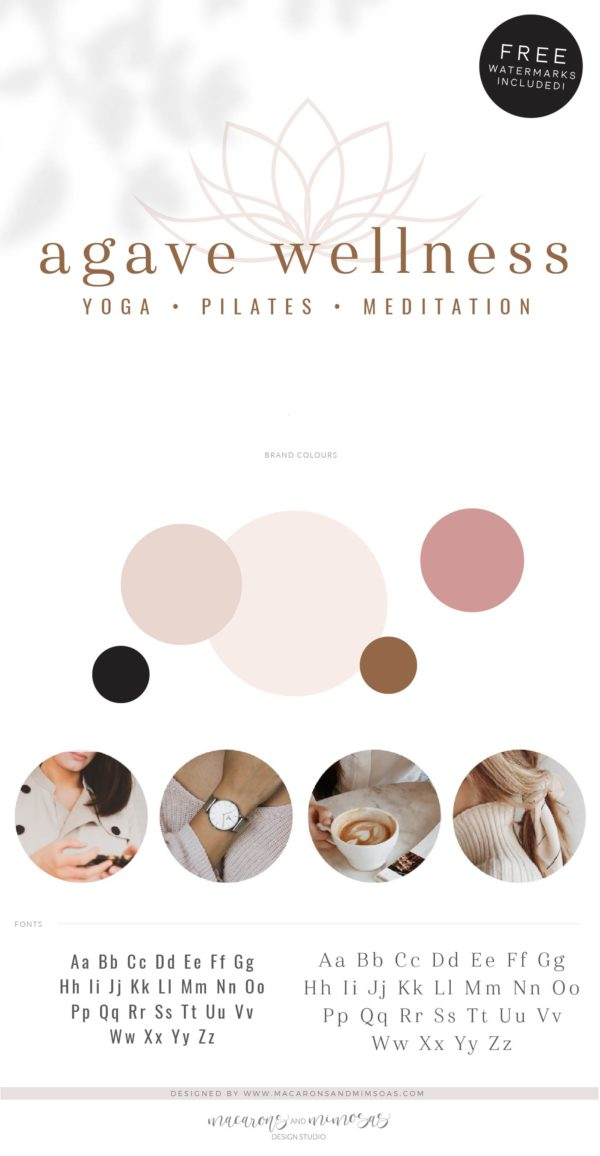 Boho Wellness Logo, Health Yoga Pilates Studio Branding Logo Design, Barre Logo Package, Star Logos Watermark, Fitness Training Brand