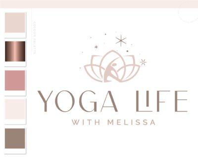 Lotus Logo, Health Wellness Pilates Studio Branding Logo Design, Barre Logo Package, Yoga Flower Logos Watermark, Fitness Spa Design
