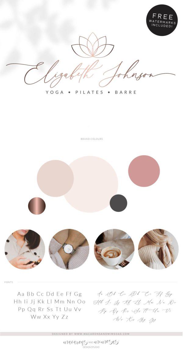 Spa Lotus Logo, Health Wellness Pilates Studio Branding Logo Design, Barre Logo Package, Yoga Flower Logos Watermark, Fitness Day Spa Design