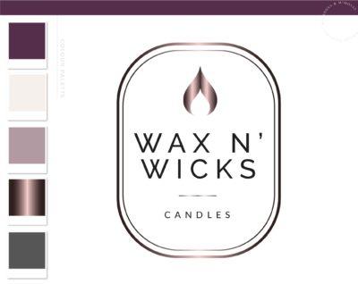 Candle Label Logo Design, Flame Wick Candle Boutique Logo Branding Package, Small business Brand Design, Healing Spiritual Decor logo