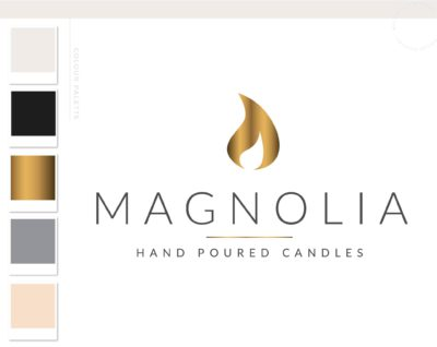 Flame Logo Design, Candle Wick Candle Boutique Logo Branding Package, Candle Hold Melts Brand Design, Healing Spiritual Decor logo