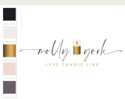 Wick Logo, Candle Flame Logo, Hand Poured Boutique Logo Branding Package, Candle Hold Melts Brand Design, Healing Spiritual Decor logo