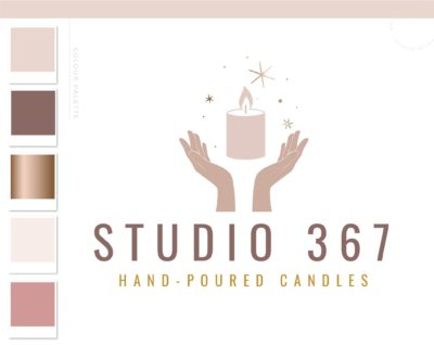 Hands with Candle Logo Design, Healing Spiritual Flame logo, Decor Wick Candle Boutique Logo Branding Package, Small business Brand Design