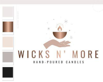 Hand Candle Logo Design, Minimalist Hand Logo, Home Decor Wick Candle Logo Branding Package, Boutique Brand Design, Healing Spiritual Flame