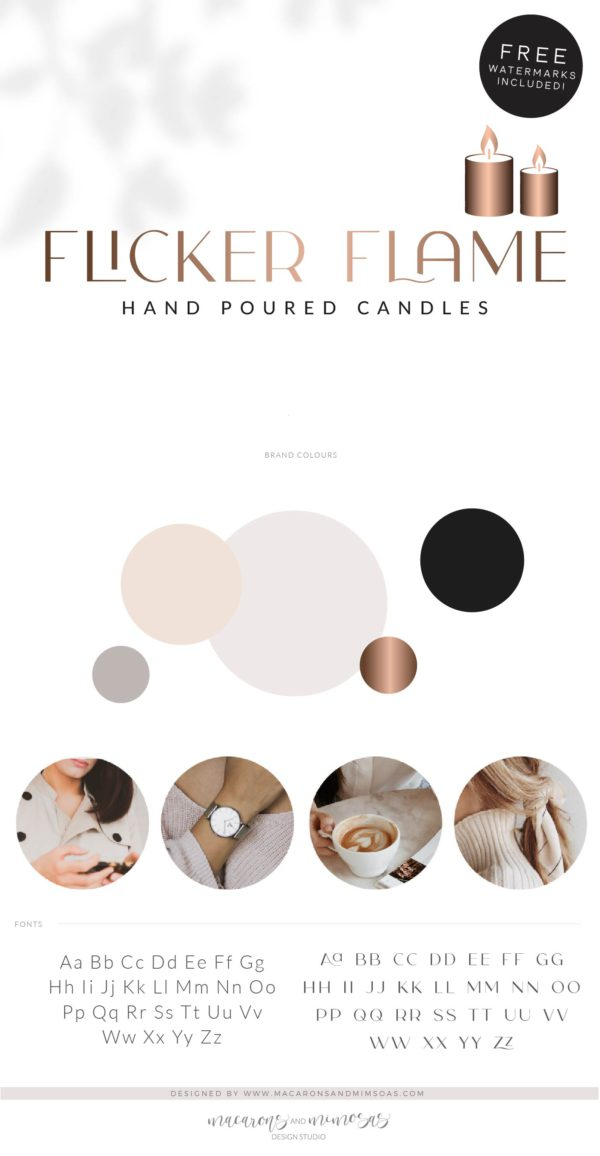 Flame Logo, Candle Wick Logo, Hand Poured Boutique Logo Branding Package, Candle Hold Melts Brand Design, Healing Spiritual Decor logo