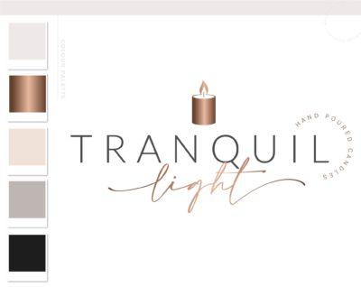 Candle Light Logo Design, Decor Wick Candle Boutique Logo Branding Package, Small business Brand Design, Healing Spiritual Flame logo