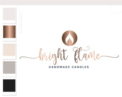 Candle Logo Design, Decor Wick Candle Boutique Logo Branding Package, Hand Poured Luxe Wax Brand Design, Healing Spiritual Flame logo