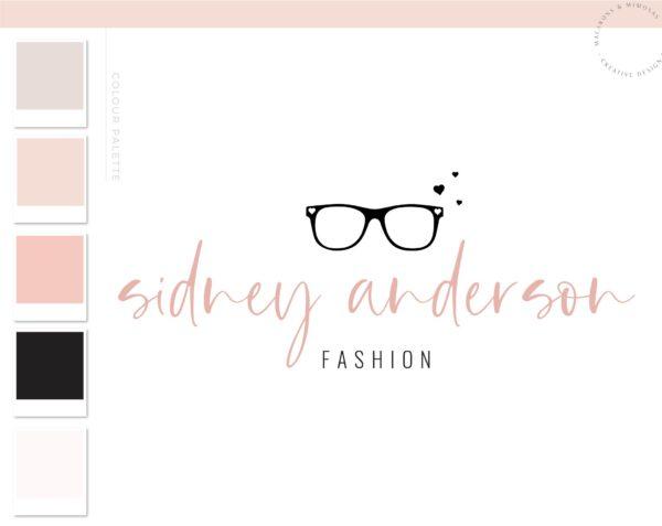 Sunglasses Logo, Eyeglasses with Heart Branding, Fashion Blogger Influencer Logo Branding Kit, Boutique Branding for Glasses Logo Watermark