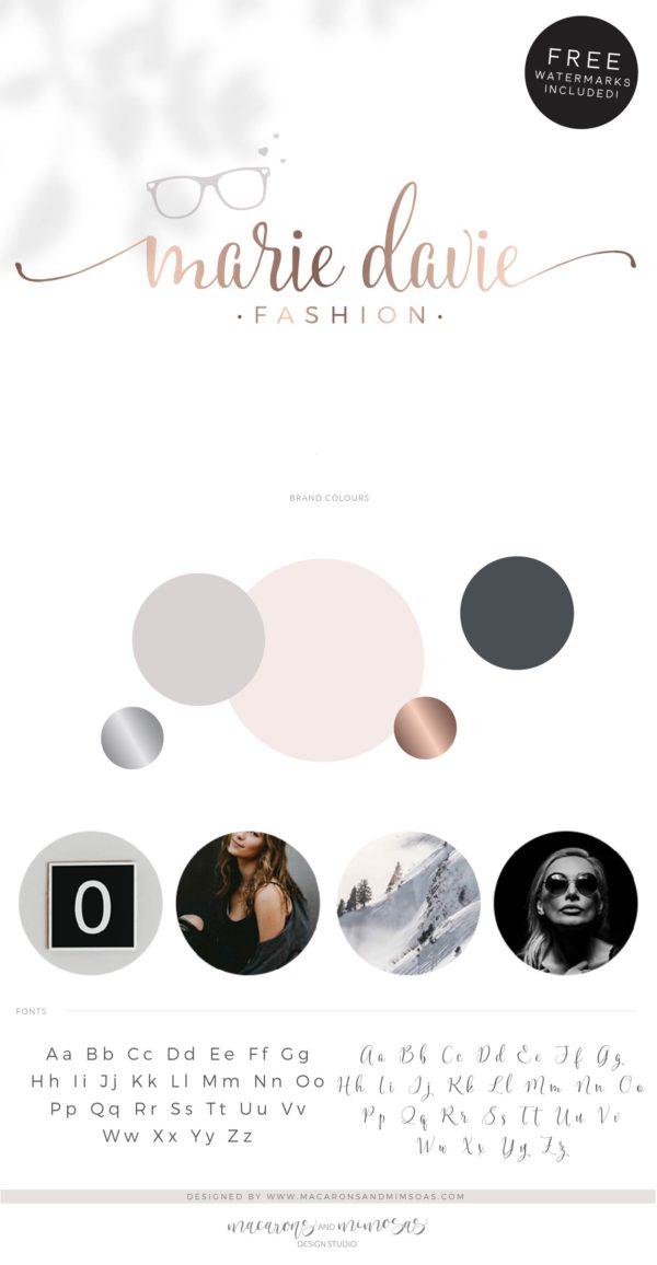 Eyeglasses Logo, Sunglasses with Heart Branding, Fashion Blogger Influencer Logo Branding Kit, Glasses Boutique Logo Watermark Design