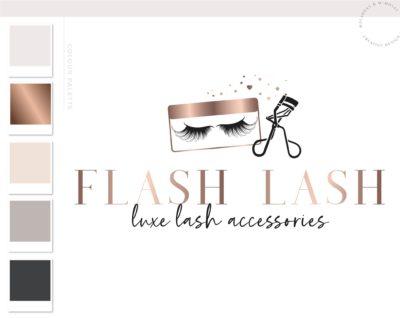 Eyelash Logo Design, Lash Technician Branding Kit for Beauty Salon Artists and Bloggers, Premade Mink Eyelash Logo Template for Brows
