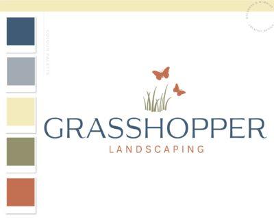 Lawn Care Logo, Grass Butterfly Logo, Landscaping Logo Design, Garden Blog, Organic Brand, Plant Logo, Business Branding, Botanical Logo