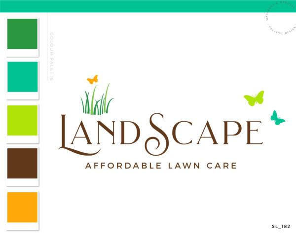 Landscaping Logo Design, Lawn Care Logo, Grass Butterfly Logo, Garden Blog, Organic Brand, Plant Logo, Business Branding, Botanical Logo